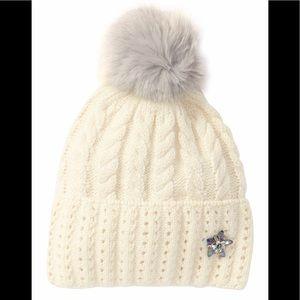 bb04618bf4b Badgley Mischka Cable Knit Faux Fur Pompom Beanie